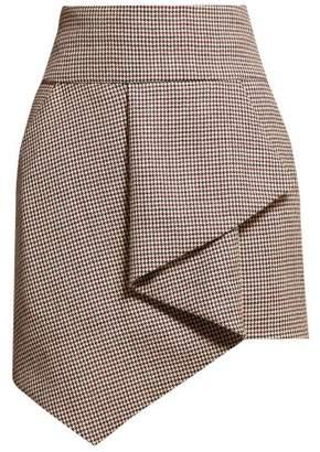 Alexandre Vauthier Gun Club Draped Houndstooth Wool Skirt - Womens - Burgundy Multi