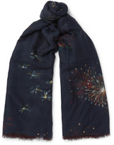 Valentino - Firework-print Cashmere, Silk And Wool-blend Scarf