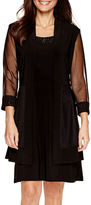 R & M Richards R&M Richards 3/4-Sleeve Mesh Jacket Dress - Petite