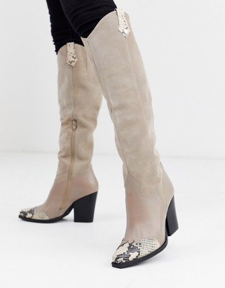 Steve Madden Massion beige leather suede with snake contract toe mid heeled knee high boots