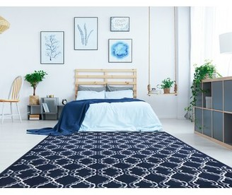 Charlton Homeâ® Melbourne Washable Navy Blue Area Rug Charlton HomeA Rug Size: Rectangle 8'x10'