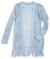 Dex Girl's Open Knit Fringe Cardigan
