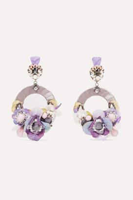 Ranjana Khan Ayla Silver-tone, Silk And Crystal Clip Earrings - Lilac