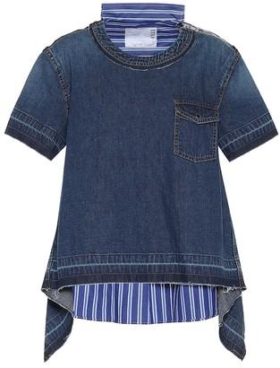Sacai Striped cotton and denim top