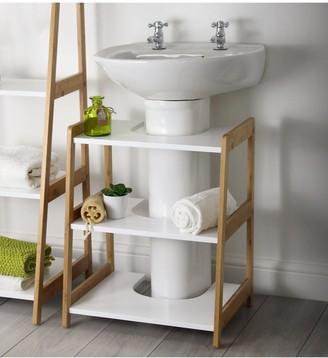 Lloyd Pascal Denver Bamboo Undersink Shelf Unit - Natural & White