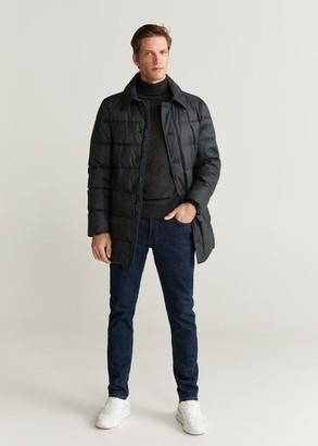 MANGO MAN - Detachable hood quilted coat dark navy - S - Men