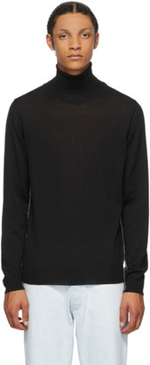 Maison Margiela Black Wool Piped Turtleneck