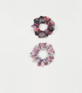 New Look 2 Pack Floral Organza Scrunchies