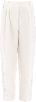 Alexander McQueen Damask Linen Pants With Lace