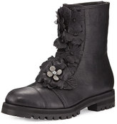 Jimmy Choo Havana Floral-Embellished Combat Boot, Black