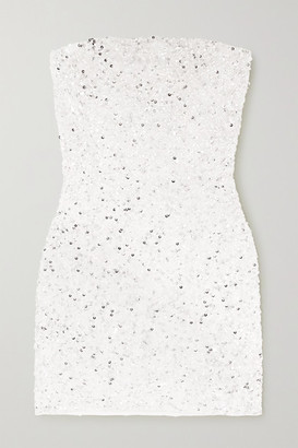 retrofete Heather Sequined Chiffon Mini Dress - White