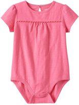 Baby Girl Jumping Beans® Solid Slubbed Pom-Trim Bodysuit