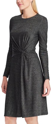 Chaps Women's Gathered Knot-Front Lurex Dress