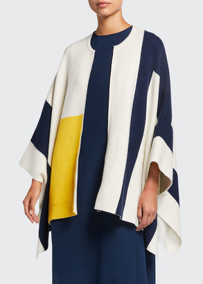 Akris Zip-Front Double-Face Cashmere Intarsia Cape