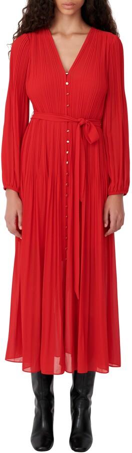 Maje Long Sleeve Pleated Dress