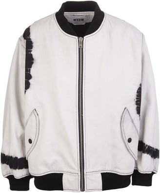 MSGM White Woman Bomber Jacket With Black Printed Details