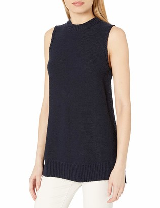 Daily Ritual Amazon Brand Women's Soft Cotton Tape Yarn Sleeveless Tunic Sweater