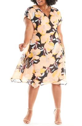 Estelle Sherbet Garden Floral Chiffon Wrap Dress