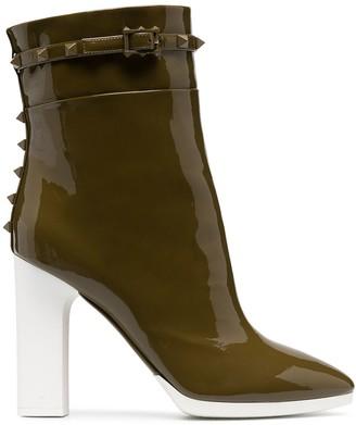 Valentino Rockstud block heel ankle boots