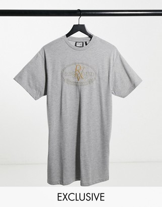 Reclaimed Vintage inspired RV crest logo t-shirt dress in grey