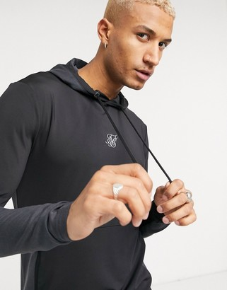 SikSilk advanced tech muscle fit hoodie in black and gray