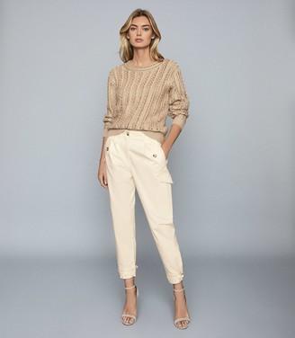 Reiss Bleeker - Tapered Cargo Trousers in Cream