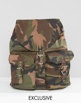 Reclaimed Vintage Canvas Backpack Camo