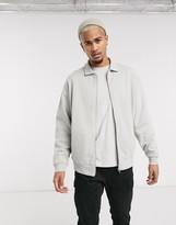 Asos Design DESIGN oversized jersey harrington jacket in light gray