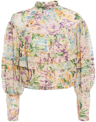 Zimmermann Cropped Pintucked Floral-print Crepe Blouse
