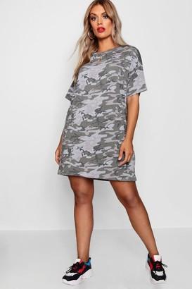 boohoo Plus Camo Print T Shirt Dress