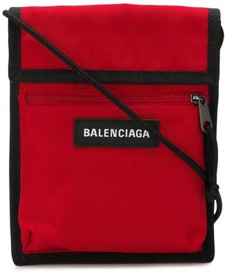 Balenciaga red Explorer logo embroidered pouch
