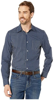 Perry Ellis Slim Fit Contrast Stripe Shirt (Ink) Men's Clothing