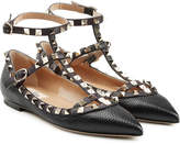 Valentino Rockstud Textured Leather Ballerinas