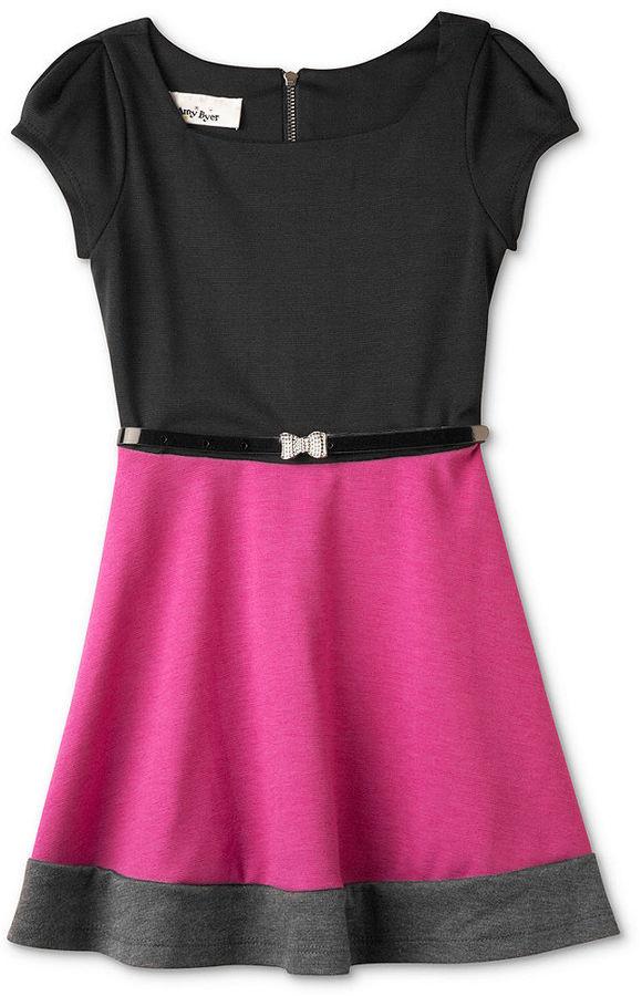 Amy Byer BCX Girls Dress, Little Girls Belted Ponte Dress