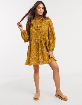 ASOS DESIGN frill neck detail smock mini dress in mustard floral print