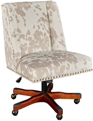 Linon Dobby Linen Cow Print Office Chair