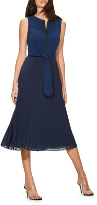 Toccin Pleated Georgette Midi Dress