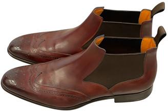 Santoni Burgundy Leather Boots