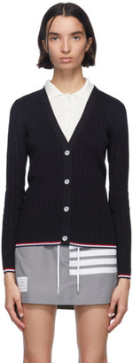 Thom Browne Navy Crepe Pointelle V-Neck Cardigan