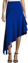 Milly Charlotte Asymmetric Ruffled Midi Skirt, Cobalt