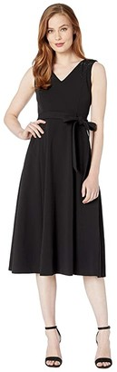 Calvin Klein Self Tie Belted Midi Dress w/ Embellished Shoulder Detail (Black) Women's Dress