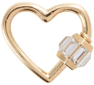 Marla Aaron 'Heart' diamond 14k yellow gold medium lock