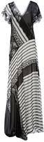 Alberta Ferretti Patchwork V-Neck Long Dress