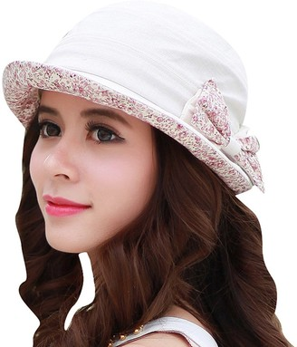 CACUSS Women's Foldable Floral Bucket Hat Rolled Brim with Bowknot Creamy White One Size