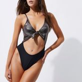 River Island Womens Silver foil knot front high leg swimsuit