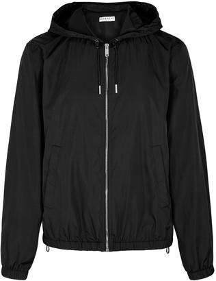 Givenchy Black logo-print hooded shell jacket