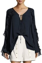 Haute Hippie Lover To Lover Long-Sleeve Ruffled Blouse