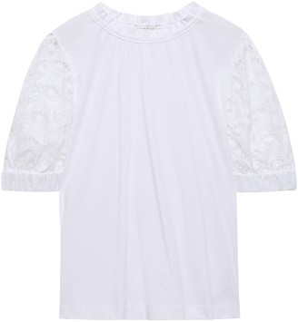 Sandro Broderie Anglaise-paneled Cotton-jersey T-shirt