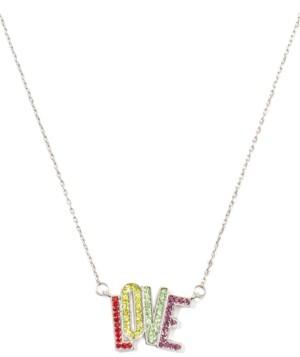 "Kate Spade Silver-Tone Multicolor Crystal Love Pendant Necklace, 17"" + 3"" extender"