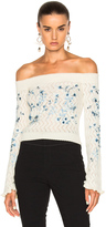 Erdem Bella Embellished Lace Knit Off The Shoulder Sweater